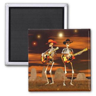 Concierto del esqueleto de Halloween Imán Cuadrado