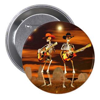 Concierto del esqueleto de Halloween Pin Redondo De 3 Pulgadas