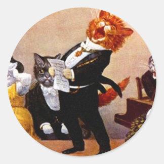 Concierto del gato del canto del Soiree musical Pegatina Redonda