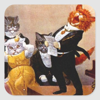 Concierto del gato del canto del Soiree musical Calcomania Cuadradas