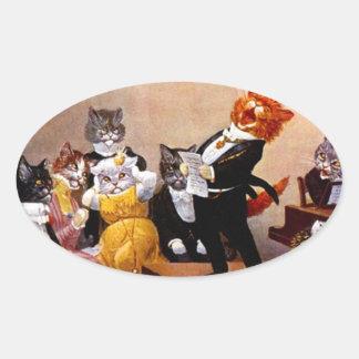 Concierto del gato del canto del Soiree musical Calcomanías De Ovales