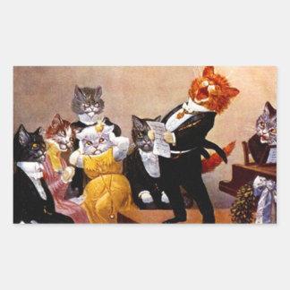 Concierto del gato del canto del Soiree musical Pegatina Rectangular