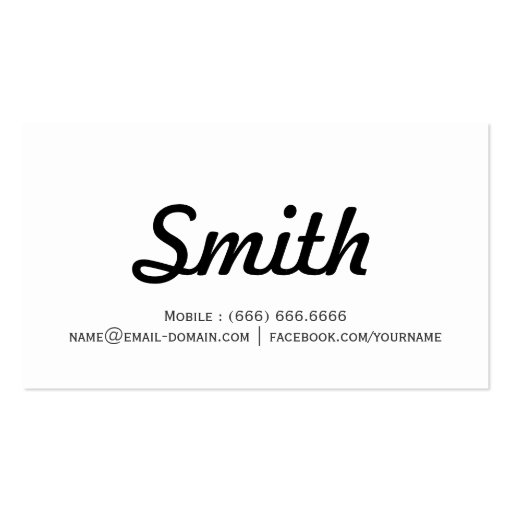 Concise Simple - Black and White Minimalist design Business Card (back side)
