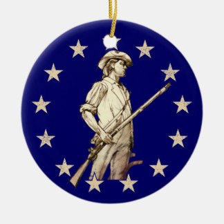 Concord Minuteman Double-Sided Ceramic Round Christmas Ornament