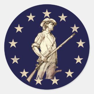 Concord Minuteman Round Stickers