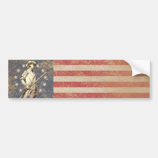 Concord Minuteman with First Americam Flag Car Bumper Sticker