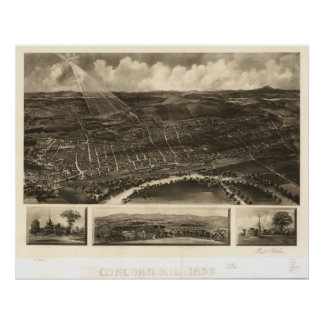 Concord New Hampshire 1899 Antique Panoramic Map Poster