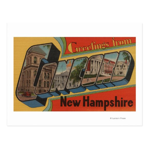 Concord, New Hampshire - Large Letter Scenes Postcards