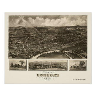 Concord, NH Panoramic Map - 1899 Poster