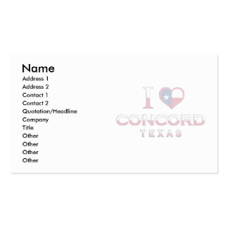 Concord, Texas Business Card Templates