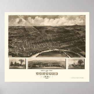 Concordia, mapa panorámico del NH - 1899 Póster