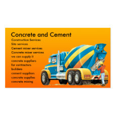 Concrete and Cement Mixer Custom Construction Business Card