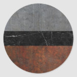 Concrete, Marble and Rusted Iron Abstract Classic Round Sticker
