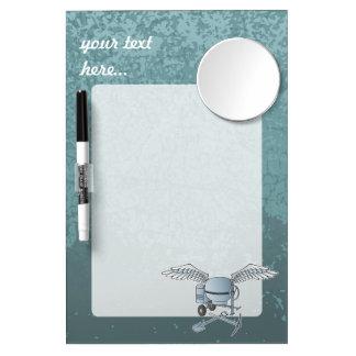 Concrete mixer blue-gray dry erase board with mirror