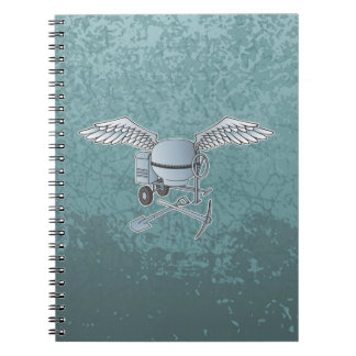 Concrete mixer blue-gray spiral notebook