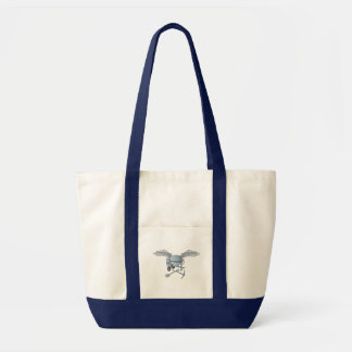Concrete mixer blue-gray tote bag