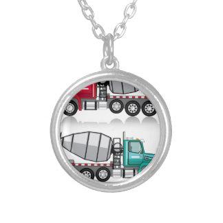 Concrete mixer Truck Round Pendant Necklace