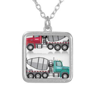 Concrete mixer Truck Square Pendant Necklace
