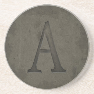 Concrete Monogram Letter A Coasters