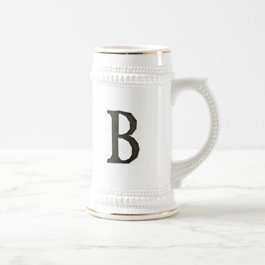 Concrete Monogram Letter B Beer Stein