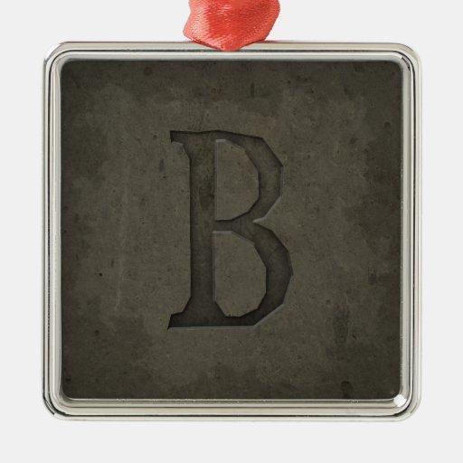 Concrete Monogram Letter B Square Metal Christmas Ornament   Zazzle