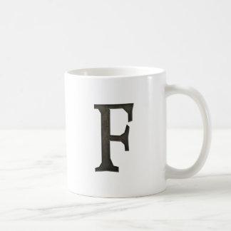 Concrete Monogram Letter F Coffee Mug