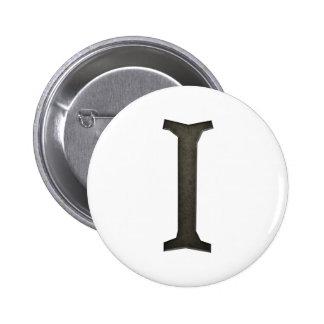 Concrete Monogram Letter I Pinback Button