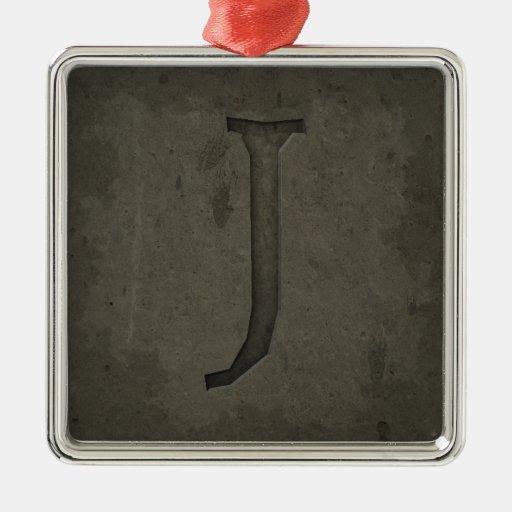 Concrete Monogram Letter J Christmas Tree Ornament