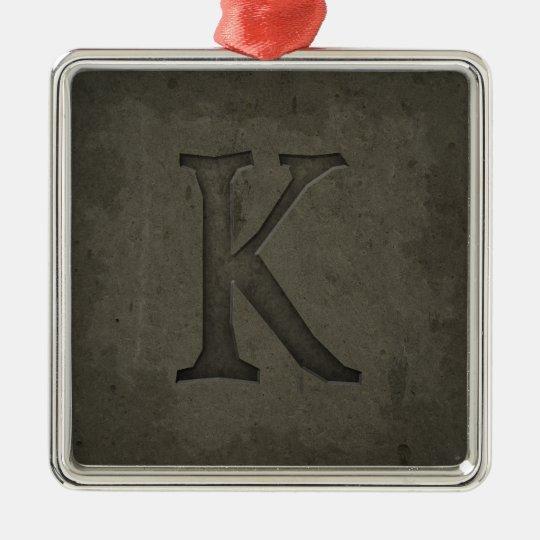 Concrete Monogram Letter K Metal Ornament