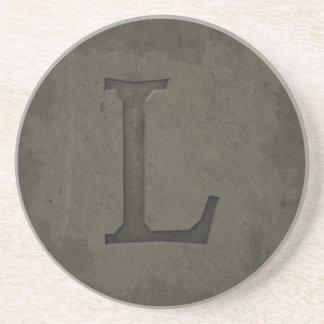 Concrete Monogram Letter L Beverage Coaster