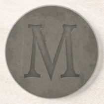 Concrete Monogram Letter M Coaster