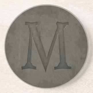 Concrete Monogram Letter M Coasters