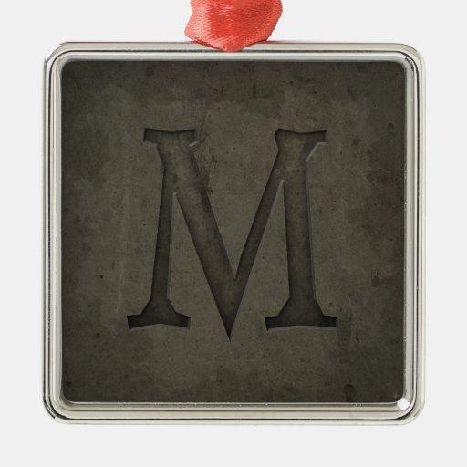 Concrete monogram letter m metal ornament zazzle