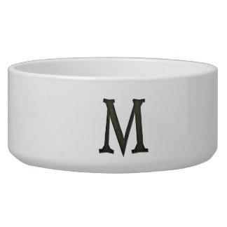 Concrete Monogram Letter M Dog Food Bowl