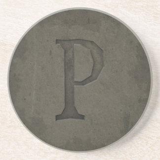 Concrete Monogram Letter P Beverage Coasters