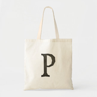 Concrete Monogram Letter P Tote Bag