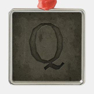 Concrete Monogram Letter Q Metal Ornament