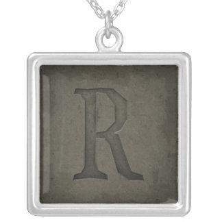 Concrete Monogram Letter R Square Pendant Necklace