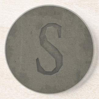 Concrete Monogram Letter S Coaster