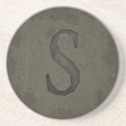 Concrete Monogram Letter S Sandstone Coaster