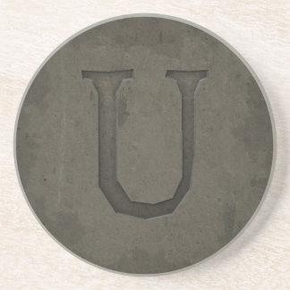 Concrete Monogram Letter U Coasters