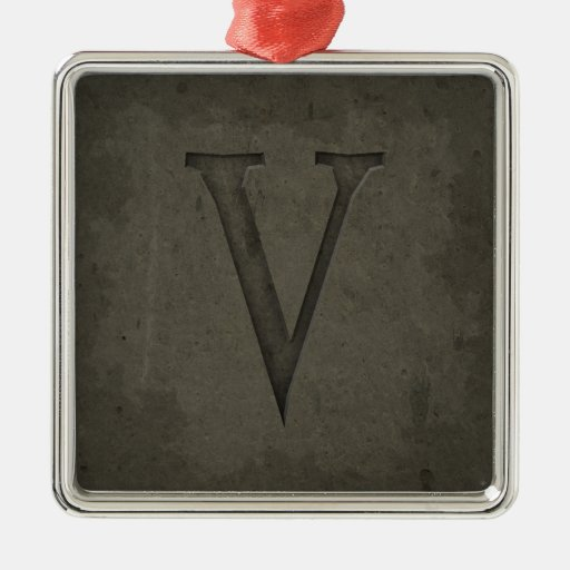 Concrete Monogram Letter V Square Metal Christmas Ornament