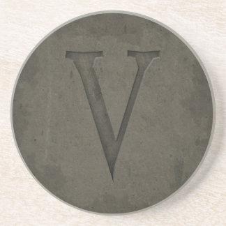Concrete Monogram Letter V Sandstone Coaster