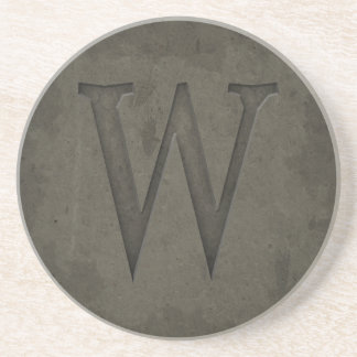 Concrete Monogram Letter W Beverage Coaster