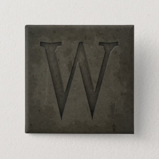 Concrete Monogram Letter W Pinback Button