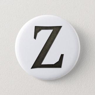 Concrete Monogram Letter Z Pinback Button