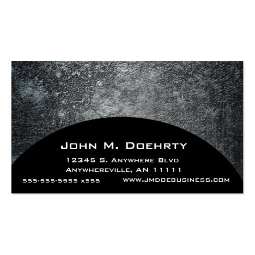 Concrete Moon Texture on Black Business Card