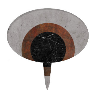 Concrete, Rusted Iron, and Black Marble Abstract Cake Topper