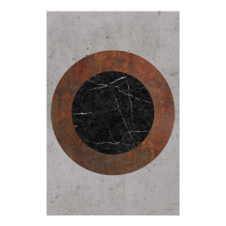 Concrete, Rusted Iron, and Black Marble Abstract Stationery