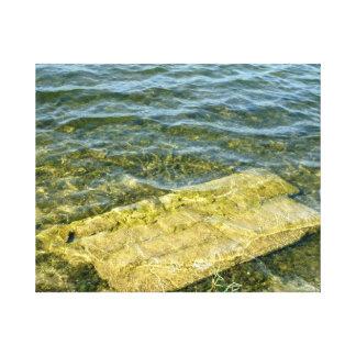 Concrete slab in pond canvas prints